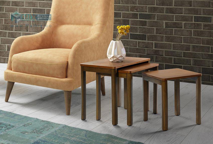 میز عسلی سه پارچه مربعی با پایه های قابل مونتاژ مدل WALNUT کد ST12